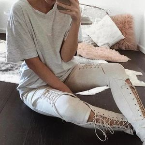 Artificial Suede Lace Up Legging